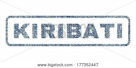 Kiribati text textile seal stamp watermark. Blue jeans fabric vectorized texture. Vector tag inside rounded rectangular banner. Rubber sticker with fiber textile structure.