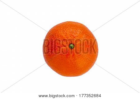 Juicy ripe mandarine lies separately on a white background