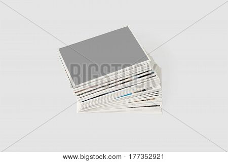 Stack of photo cards. Isolated on a light gray background.