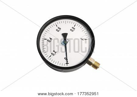 Pressure gauge. Close-up. Isolated on white background.