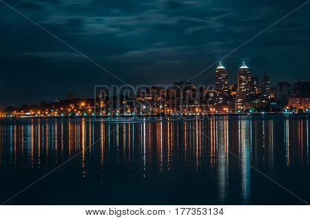Quay of the big city at night, the river Dnepr, Dnepropetrovsk