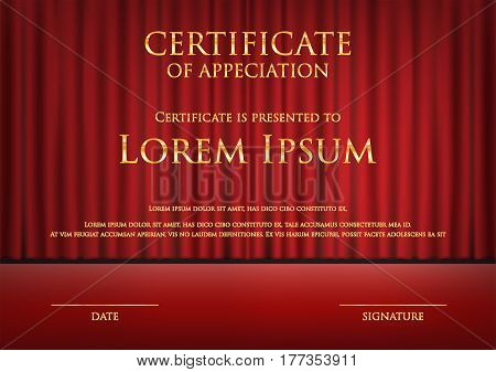 award theme certificate card with red curtain background template