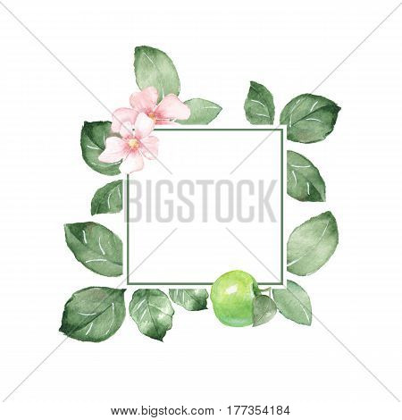 Watercolor floral frame. Element for design. Watercolor background