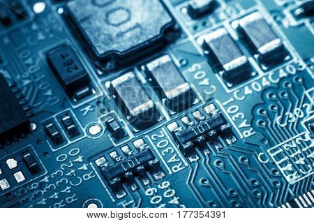 Circuit board. Electronic computer hardware technology. Information engineering component. macro photography.