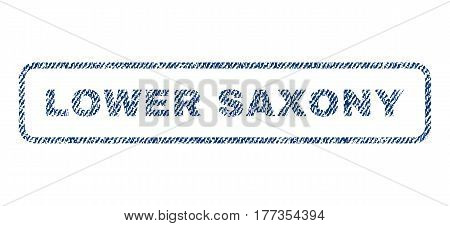 Lower Saxony text textile seal stamp watermark. Blue jeans fabric vectorized texture. Vector tag inside rounded rectangular shape. Rubber emblem with fiber textile structure.