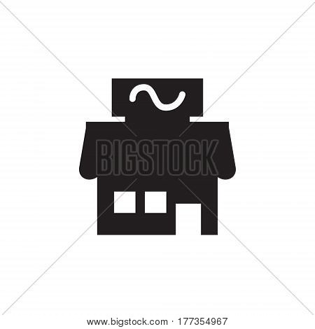 Vector icon or illustration showing business as store building in one color