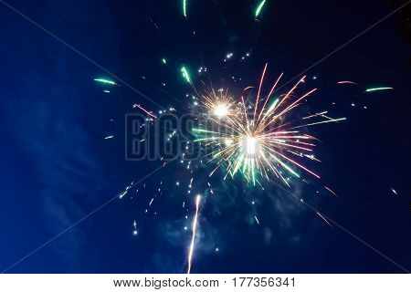 Fireworks in night sky, single shot of colorful firecracker in honor of event. Fireworks multicolor fun and joyful.