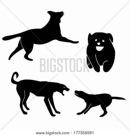 Dog breeds silhouettes collection isolated on white. Dog icons collection for cynology, pet clinic and pet shop.