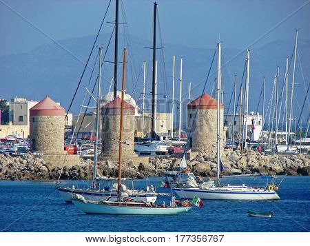 A view to small boats in Mandraki port in Rodos town
