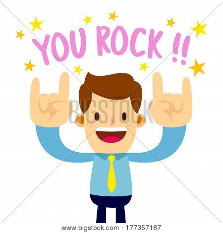 Vector stock of a businessman with rock hand sign saying you rock