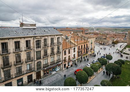 Avila Spain - November 11 2014: View of Avila from Medieval Walls a cloudy day. The old city and its extramural churches were declared a World Heritage site by UNESCO