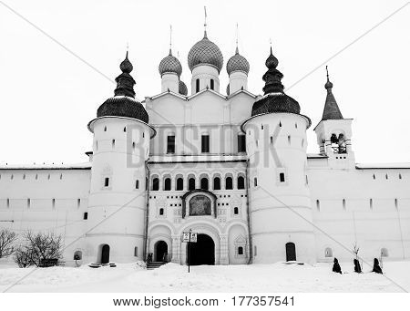 The Church of the Resurrection and the Holy Gate in Rostov Kremlin in winter, Russia