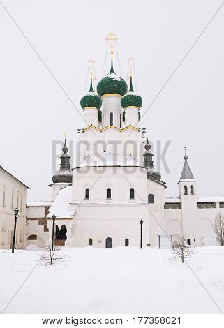Church of St. John the Divine in the Rostov Kremlin during a snowfall in winter, Russia