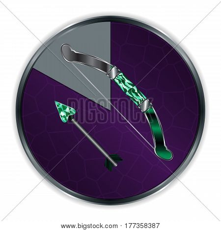 Arrow and Bow in Progress Frame Cartoon Medieval Weapon. Vector Illustration Can be used for RPG, Web, Mobile App, Infographics. Game asset.