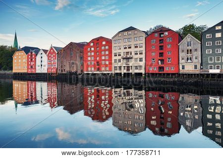 Trondheim, Norway. Coast Of Nidelva River