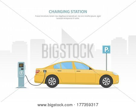 The electric car is charging from the charging station in the parking lot. Concept alternative sources of energy in the automotive industry. Saving energy. Green power. Vector illustration.