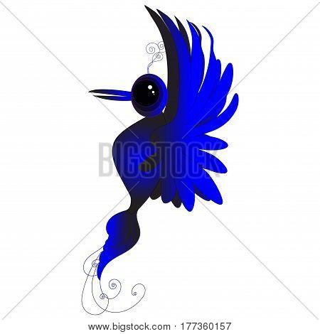 Blue bird, bird of happiness, hummingbird, little bird, drawing birds, blue drawing birds