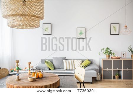 Home Interior With Wooden Accessories