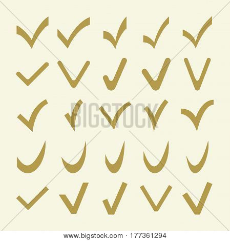 Set of golden different vector check marks