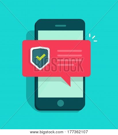 Smartphone security vector illustration, flat style mobile phone with protected shield checkmark, cellular telephone protection, secure connection notification