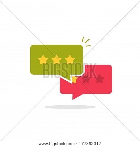 Reviews icon vector, flat style review stars in chat bubbles, testimonials symbol