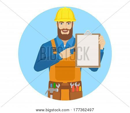 Worker pointing at a clipboard. Portrait of worker in a flat style. Vector illustration.