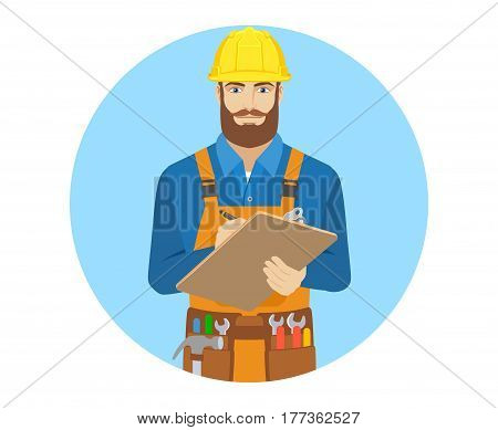 Worker writes on the clipboard closeup. Portrait of worker in a flat style. Vector illustration.