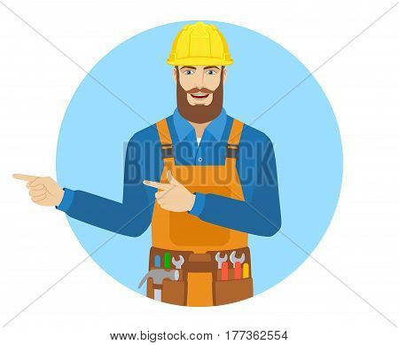 Two index fingers pointing. Worker showing somewhere. Portrait of worker in a flat style. Vector illustration.