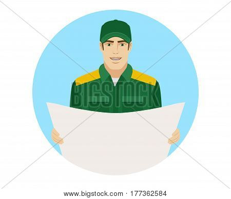 Man in uniform holding the project plan. Portrait of Delivery man or Worker in a flat style. Vector illustration.