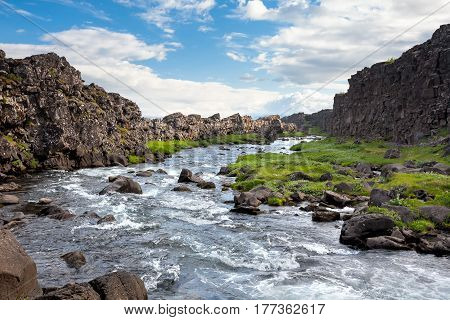 Thingvellir - rift valley in Iceland where North American and Eurasian Plates moves in opposite directions