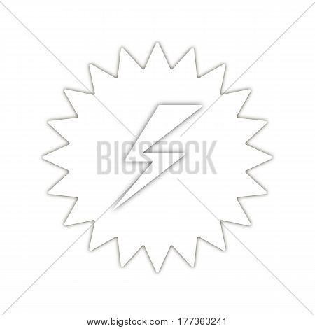 Danger symbol with shadow. abstract high voltage sign. lightning in star. white background. vector illustration.