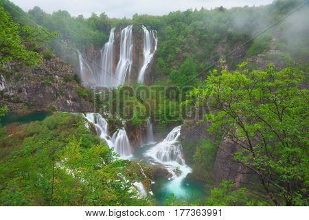 The bigest waterfall Veliki Slap at Plitvice Lakes in Croatia