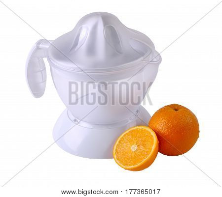 Fruit juicer and oranges isolated on white