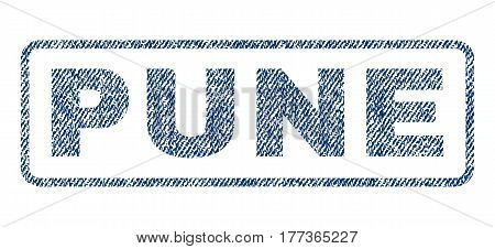 Pune text textile seal stamp watermark. Blue jeans fabric vectorized texture. Vector caption inside rounded rectangular banner. Rubber sign with fiber textile structure.
