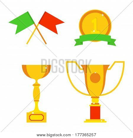 Vector trophy champion cup flat icon winner gold award and victory prize sport success best win golden leadership competition illustration. Celebration shiny ceremony metal sign.