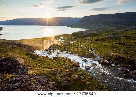 Big Dynjandi Waterfall In Iceland