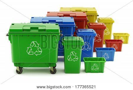 Set of colorful recycle trash containers, bins and crates - 3D illustration