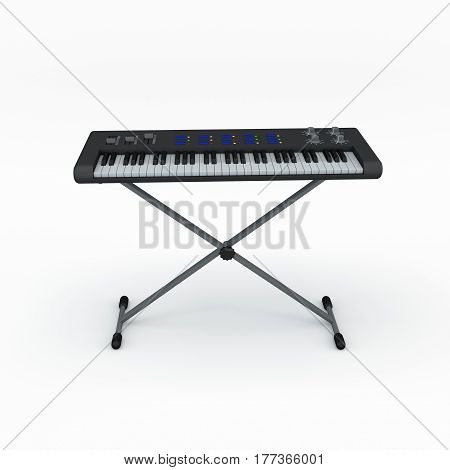 Synthesizer. Isolated on white background. 3D rendering illustration. Front view.