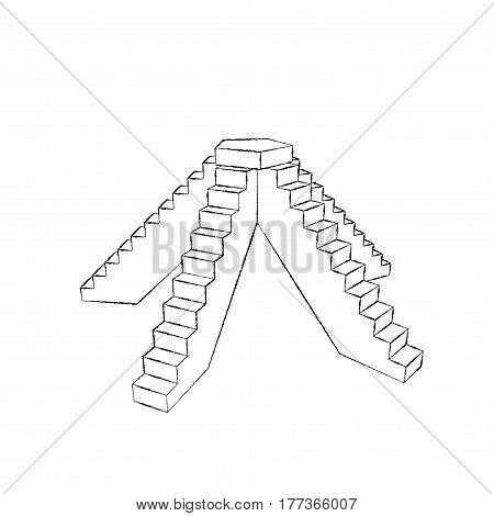 Pedestal with steps. Isolated on white background. Sketch illustration.