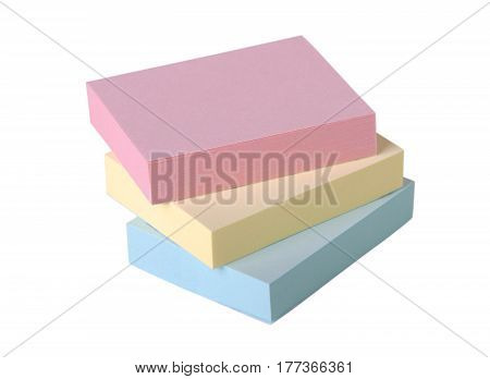 Adhesive note pads isolated on white background