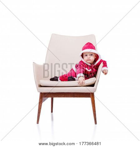 Cute Little Santa Posing Against White Background