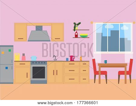 Kitchen interior in flat style.Kitchen Room Design.Cartoon Kitchen