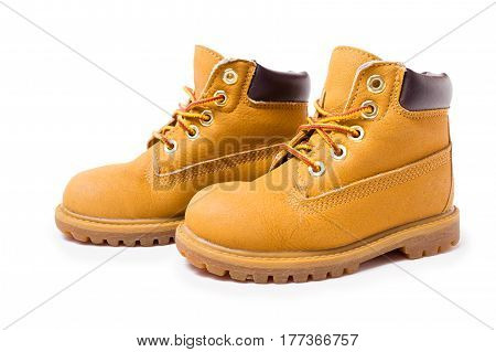 Yellow Boots Isolated On White Background