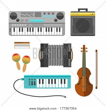 Different music instruments vector musical guitar violin and sound classical concert trumpet collection entertainment composition illustration. String and wind electric signs.