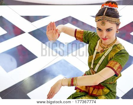 Beautiful indian girl dancer of Indian classical dance bharatanatyam . Culture and traditions of India.