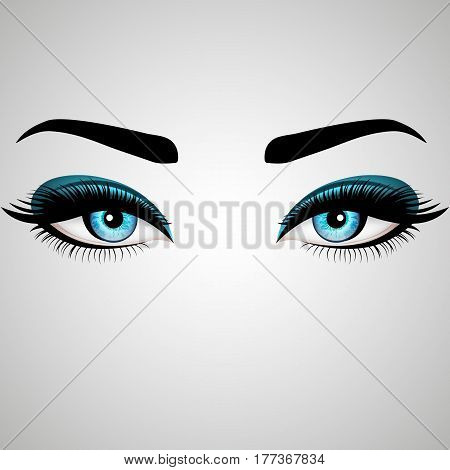 Beautiful Woman's eyes. Vector illustration. Realistic blue eyes with chic eyelashes for your design
