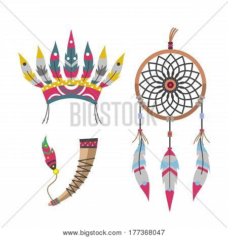 Wild west american indian feather headdress designed element traditional and native tribal ethnic feather culture ornament for the design vector illustration. Vintage abstract aztec decoration