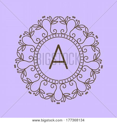Monogram A logo and text badge emblem line art vector illustration luxury template flourishes calligraphic leaves elegant ornament sign. Flourish outline decoration frame border with letter.