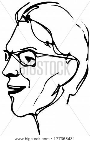 Vector Sketch Of The Face Of An Adult Male With Glasses
