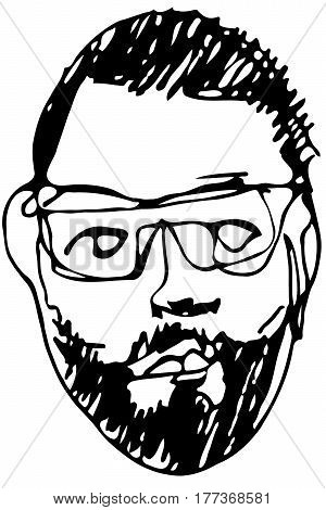 Sketch Of The Face Of An Adult Male With A Beard Wearing Glasses